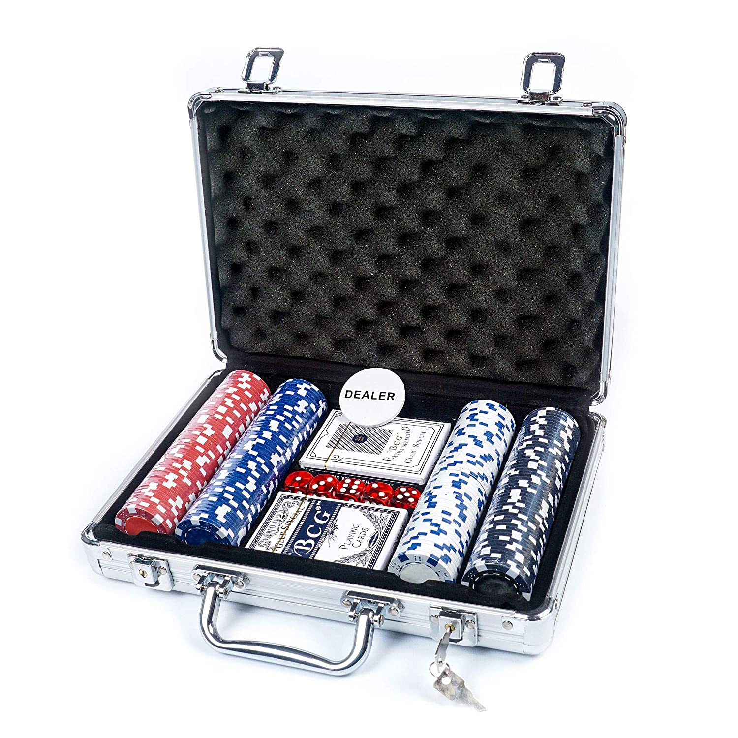 Poker Set : 200 Chips W Rack, Gaming Mat, 1 Big Blind, 1 Small Blind, 1 Dealer Button …