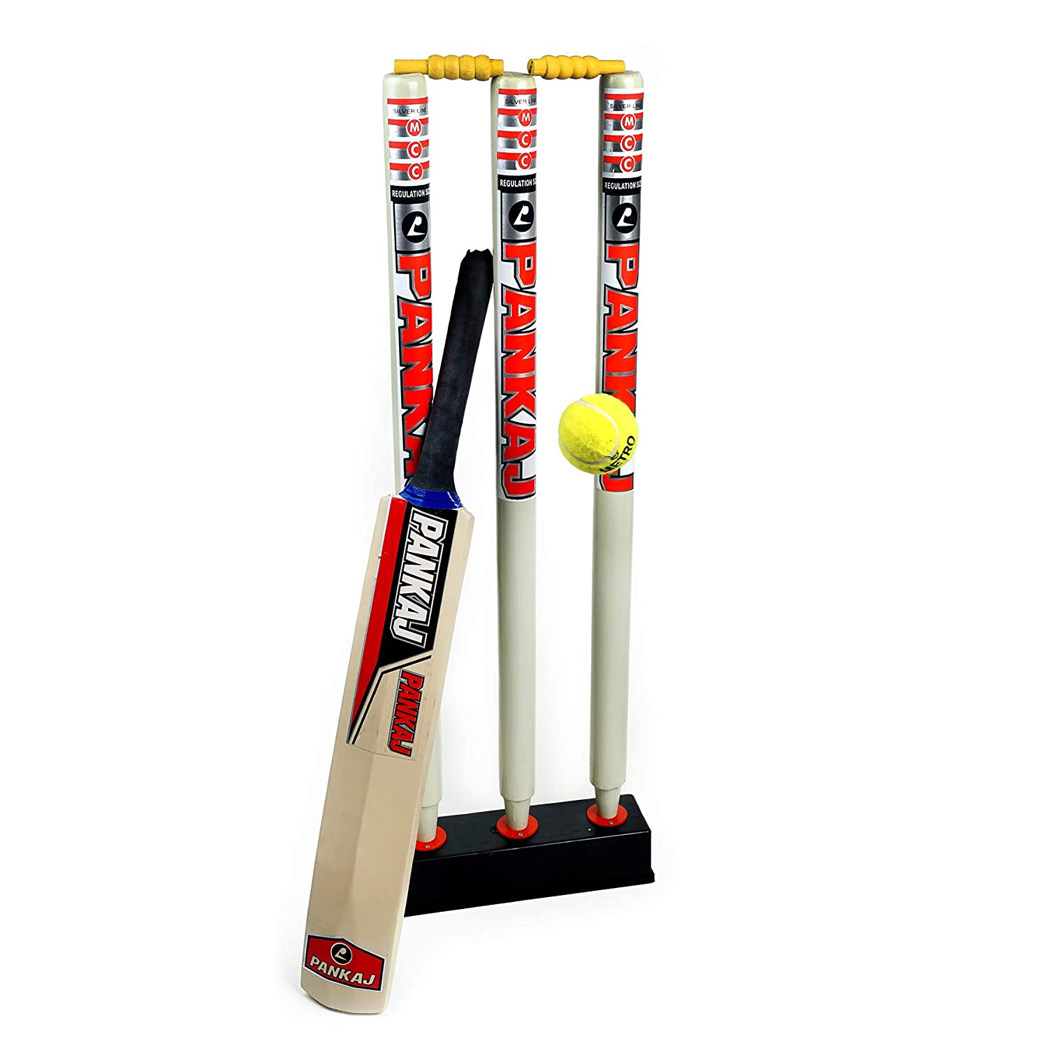 Cricket Stump Set - Best Quality - 3 Stumps + Stand + Bat + Ball