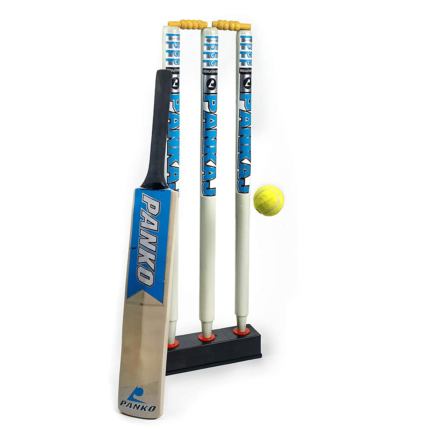 Cricket Stump Set (Blue) - Stumps + Stand + Bat + Ball