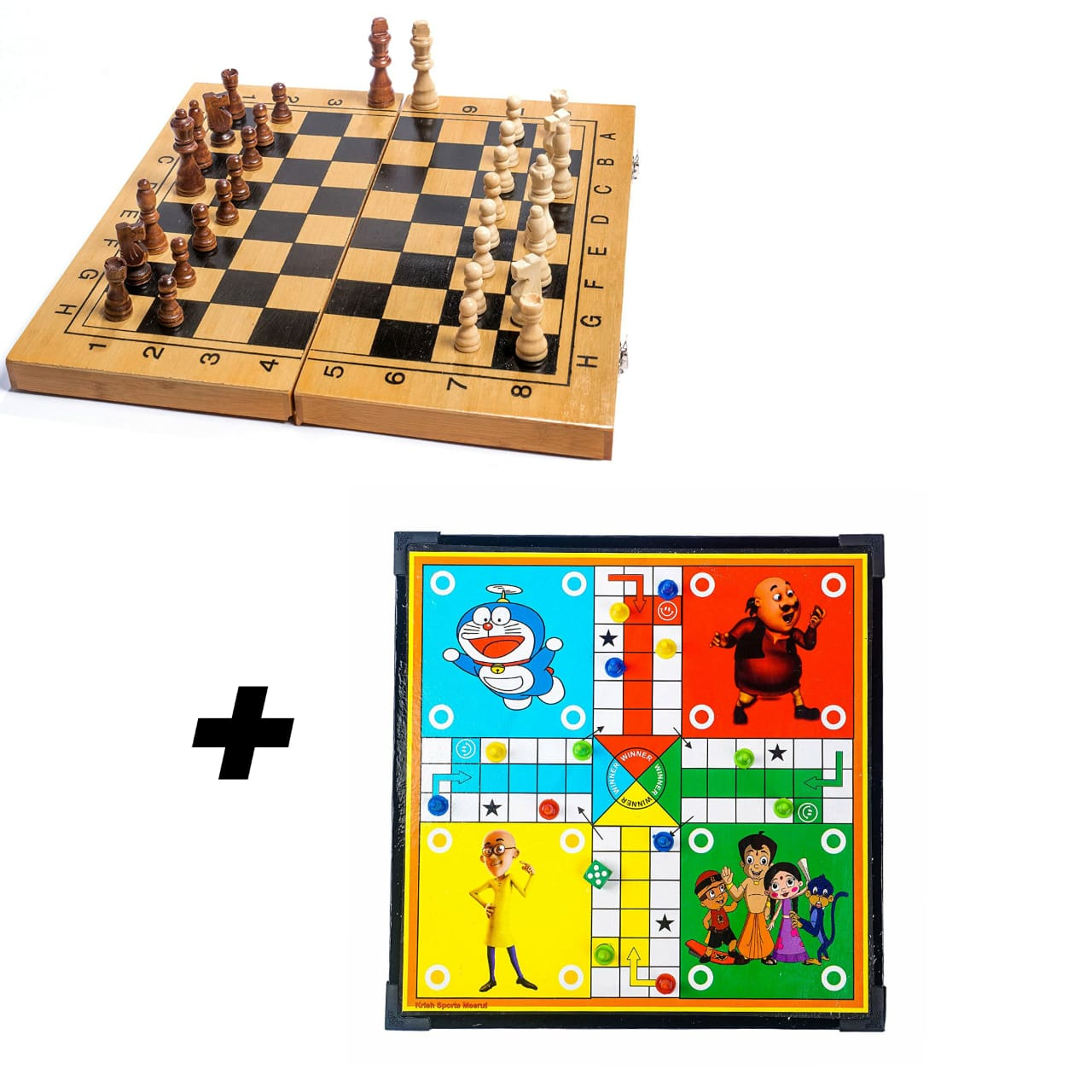 Wooden Chess Board ( 16X16 Inches ) + Ludo & Snake Combo
