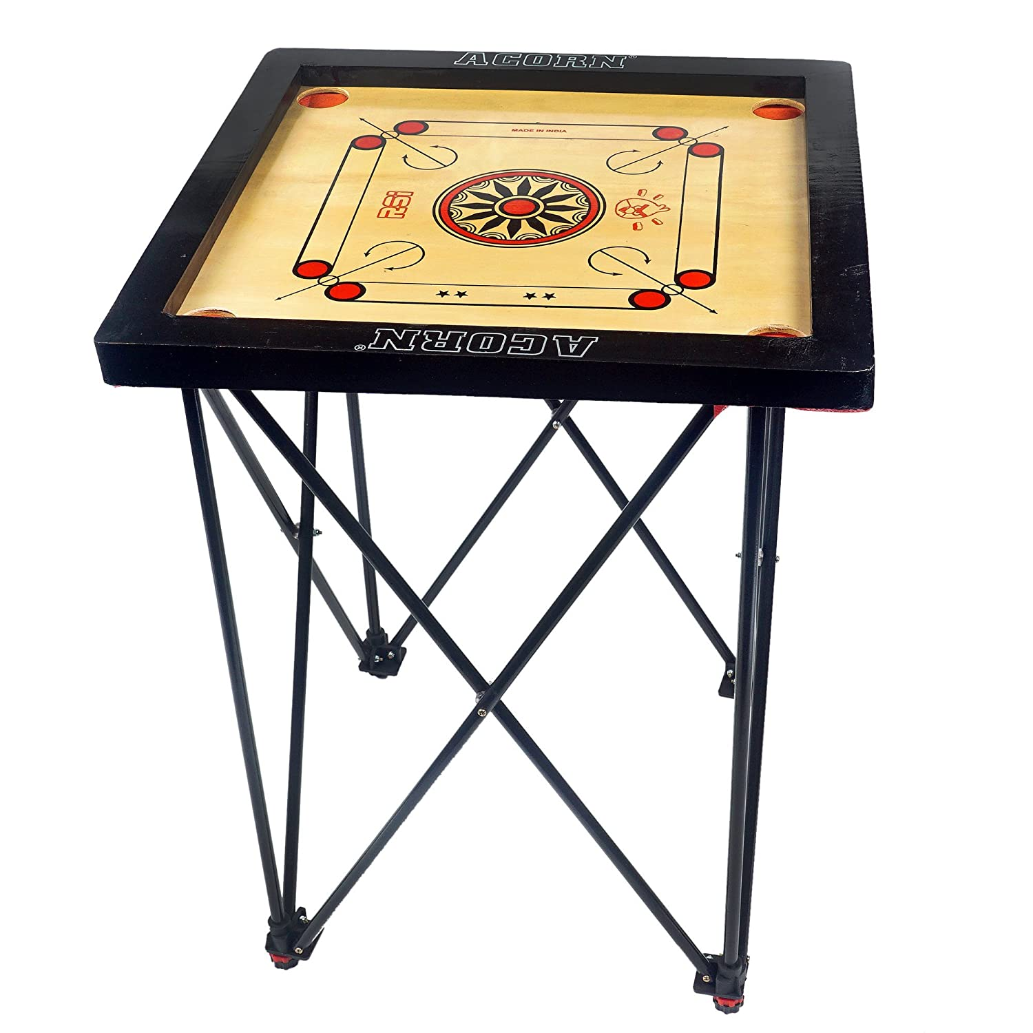 Acorn Adjustable Easy Fold Carrom Stand with Carrom Board (18 * 18)