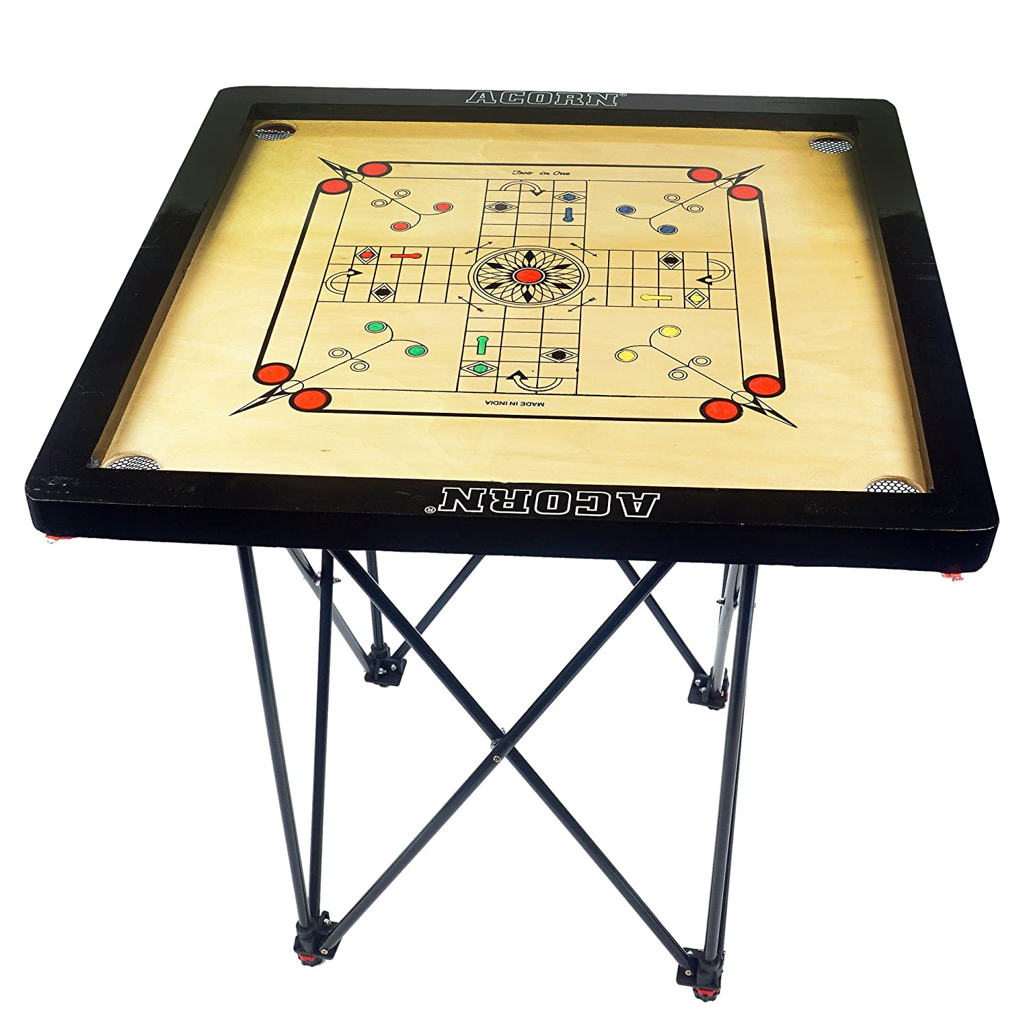 Acorn Adjustable Easy Folding Carrom Stand with 25X25 Board (Multicolour)